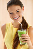 Healthy Food, Eating. Woman Drinking Detox Juice. Lifestyle, Die Stock Images