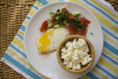 Healthy food: eggs and cottage cheese Royalty Free Stock Image