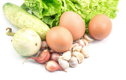 Healthy Food with Eggs, Vegetables Healthy Royalty Free Stock Photos