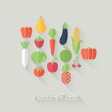 Healthy Food and Farm Fresh Concept. Flat style with long shadows. Modern trendy design. Stock Photo
