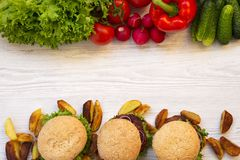 Healthy food or fast food. Copy space. Top view Royalty Free Stock Photo