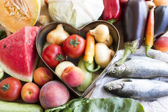 Healthy Food, Fish, Fruits and Vegetables Stock Photography