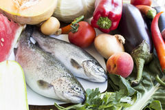 Healthy Food, Fish, Fruits and Vegetables Stock Image
