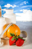 Healthy food, fitness concept on blue sky background Royalty Free Stock Images
