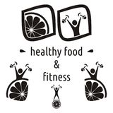 Healthy food and fitness symbols Stock Photography