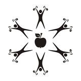 Healthy food and fitness symbols. Health and fitness symbols apple and exercising figure Stock Photo