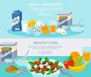 Healthy Food Flat Banner Set. Healthy meal breakfast and food fruit dairy and nature products flat horizontal banner set  vector illustration Stock Photography