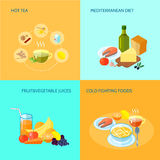 Healthy Food Flat. Icons set with hot tea mediterranean diet fruit and vegetable juices cold fighting food isolated vector illustration Royalty Free Stock Photo