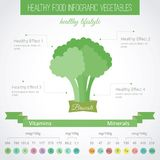 Healthy food flat infographic. Broccoli. Broccoli vitamins and minerals. Health food infographics, veganism. Vector illustration in flat style stock illustration