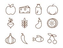 Healthy Food Fresh Fruits Vegetables And Protein Ingredient Products Icons Set Line Style Icon Royalty Free Stock Photos