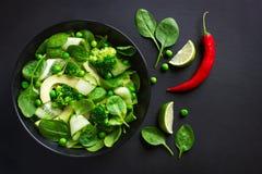 Healthy food. Fresh green salad. Stock Photos