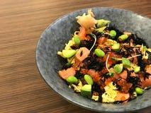 Healthy food, Fresh Salmon Ikura don stock photography