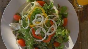 A Healthy food fresh tuna salad, flyover shot. Healthy food fresh tuna salad, flyover shot stock footage