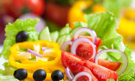 Healthy food fresh vegetable salad. Closeup Stock Photography