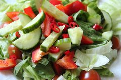 Healthy food fresh vegetable salad. With red chilli Stock Photos