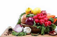 Healthy food. Fresh vegetables and fruits. Healthy food. Fresh vegetables and fruits on a wooden board Royalty Free Stock Image