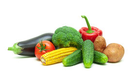 Healthy Food: Fresh Vegetables Isolated On White Background. Stock Images