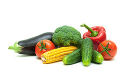 Healthy food: fresh vegetables isolated on white background Stock Photography