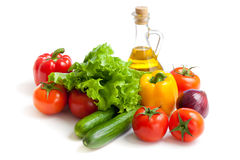 healthy food fresh vegetables and oil isolated Royalty Free Stock Image