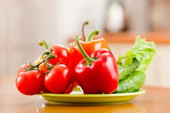 Healthy food fresh vegetables on plate Stock Photos