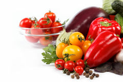 Healthy food. Fresh vegetables on a white. Royalty Free Stock Image