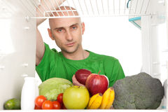 Healthy food in fridge Stock Photos