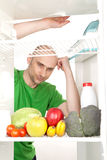 Healthy food in fridge Stock Photography