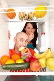 Healthy food in fridge royalty free stock photo