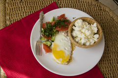 Healthy food: fried eggs and cottage cheese Royalty Free Stock Photography