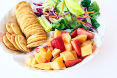 Healthy food with fruit and salad Stock Image