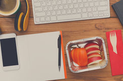 Healthy food - fruit snack at workplace Stock Photo