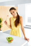 Healthy Food. Girl Eating Vegetable Vegetarian Salad. Lifestyle, Royalty Free Stock Photos