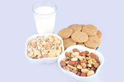 Healthy food and glass of milk Royalty Free Stock Photos