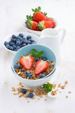 Healthy food - granola, fresh berries and milk Royalty Free Stock Photography