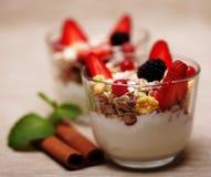 healthy food - granola with yogurt Royalty Free Stock Photos