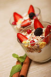 healthy food - granola with yogurt Royalty Free Stock Images