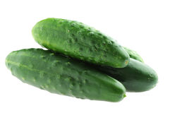 Healthy food. The green cucumbers isolated Royalty Free Stock Image