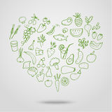 Healthy food green heart. Hand drawn healthy food in shape of heart. Healthy food background, sketch for your design Stock Photo