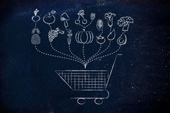 Healthy food grocery list. Fruit and veggies being dropped inside a shopping cart, illustration about buying healthy food Stock Image