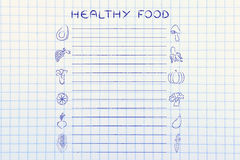 Healthy food grocery list template Royalty Free Stock Image
