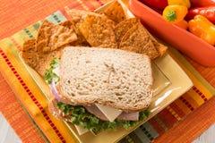 Healthy Food Ham Turkey Sandwich Lunch Stock Image
