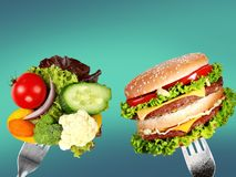 Healthy food and harmful fast food. Healthy food fast harmful nobody closeup fresh Stock Photography
