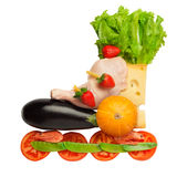 Healthy food in a healthy body: fitness as a life-style. Royalty Free Stock Images