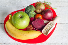 Healthy food in heart sign of healthy lifestyle Royalty Free Stock Image