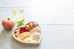 Healthy food in heart and water diet sport concept Stock Image