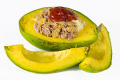 Healthy food and heavy snack: tuna and avocado Royalty Free Stock Photo
