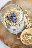 Healthy food: Homemade fresh yogurt with  blueberries and muesli Royalty Free Stock Photos