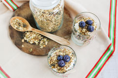 Healthy food: Homemade fresh yogurt with  blueberries and muesli Stock Photo