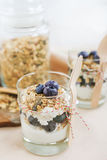Healthy food: Homemade fresh yogurt with  blueberries and muesli Stock Images