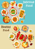 Healthy food icon set with baked dishes Royalty Free Stock Photography